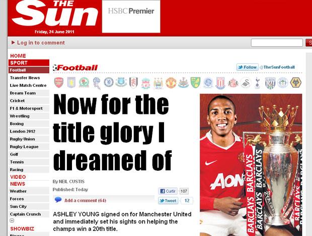 reprodução the sun - Ashley young novo reforço do Manchester united (Foto: Reprodução The Sun)