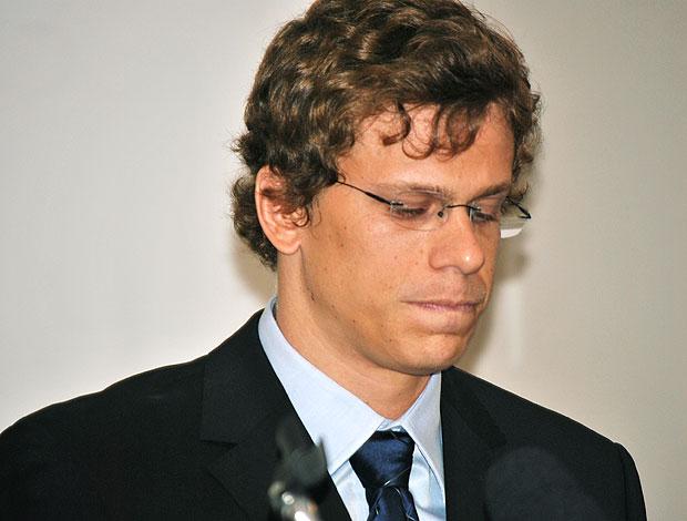 Cesar Cielo durante coletiva (Foto: João Gabriel Rodrigues / GLOBOESPORTE.COM)