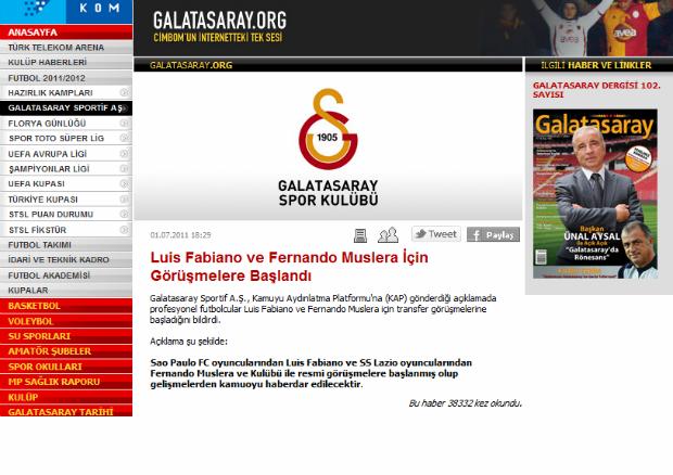 Galatasaray anuncia no site oficial o interesse em Luis Fabiano (Foto: Reprodução)