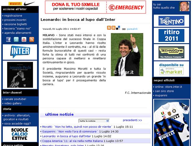 Reprodução site internazionale rescisão leonardo (Foto: Inter.t)