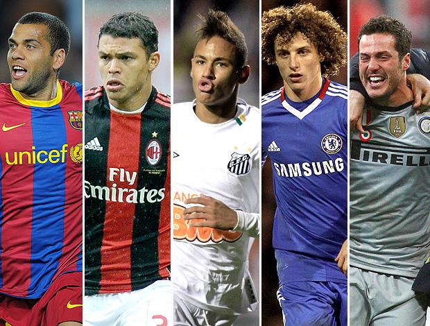 montagem jogadores Daniel Alves Thiago Silva Neymar David Luiz Julio Cesar (Foto: Editoria de Arte / GLOBOESPORTE.COM)