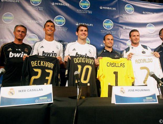 Apresentação de Real Madrid x Los Angeles Galaxy com Beckham, Casillas, Cristiano Ronaldo e Mourinho (Foto: Realmadrid.com)