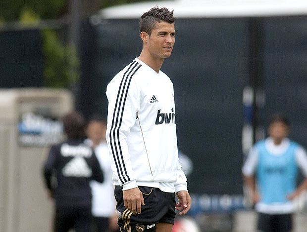 Cristiano Ronaldo no treino do Real Madrid (Foto: EFE)