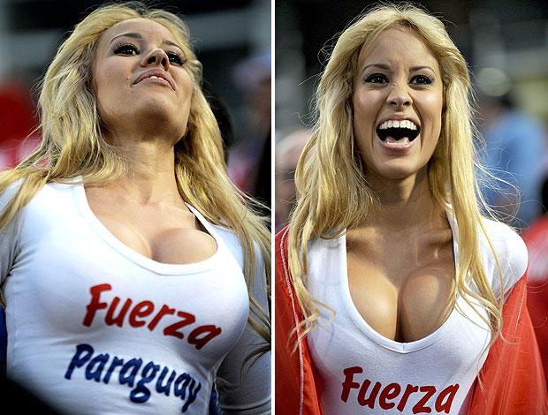 torcedora do Paraguai na partida contra a Venezuela (Foto: AFP)