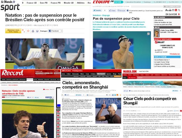 print  montagem cielo natação jornais (Foto: Reprodução )