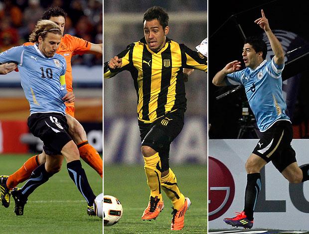 MONTAGEM - Forlan uruguai copa do mundo, martinuccio peñarol libertadores, suarez copa américa (Foto: Agência Reuters)