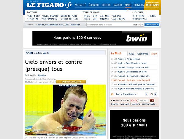 Cesar Cielo jornal Le Figaro (Foto: Reprodução / Le Figaro.fr)