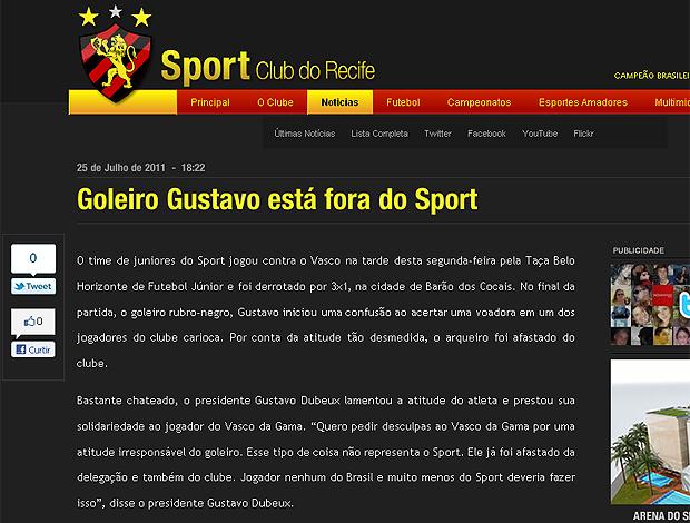 Site Sport goleiro demitido (Foto: Reprodução)