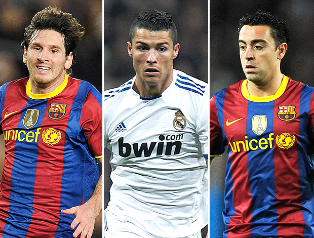 montagem Messi, Cristiano Ronaldo e Xavi (Foto: Editoria de Arte)