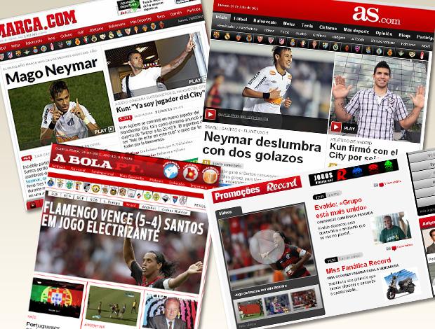 jornais repercusão flamengo santos (Foto: Editoria de Arte / Globoesporte.com)