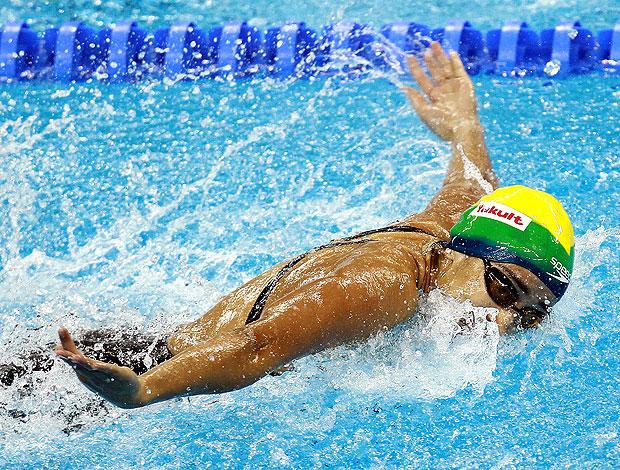 Daynara de Paula durante eliminatória dos 50 metros borboleta (Foto: Satiro Sodré / Divulgação Agif)