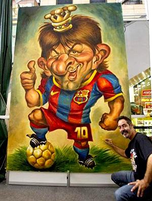 caricatura gigante lionel messi barcelona Joan Vizcarra (Foto: Divulgação / Joan Vizcarra)