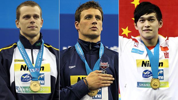 natação cesar Cielo Ryan Lochte  Yang Sun (Foto: Getty Images)