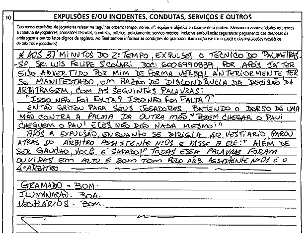 súmula palmeiras x atlético-mg expulsão luiz felipe scolari  felipão  (Foto: Reprodução )