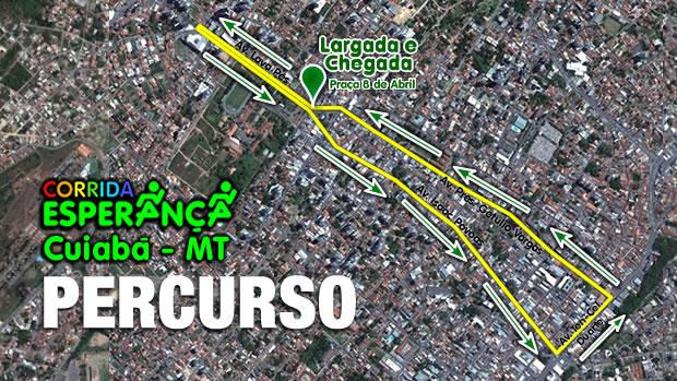 Percurso Corrida Esperança (Foto: Arte/TVCA)
