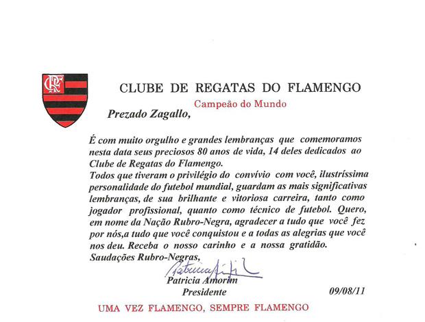 Zagallo flamengo 80  anos documento (Foto: Divulgação)