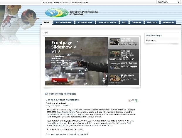 Site da Confederação de Ginástica CBG hackeado (Foto: Reprodução)
