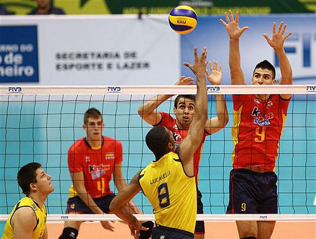 Brasil x Espanha, mundial Juvenil vôlei (Foto: divulgação / FIVB)