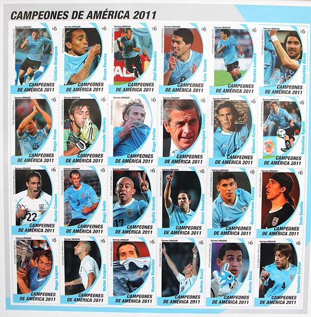 Correios do Uruguai lançam selo para homenagear campeões da Copa América.   8da9397a78db3