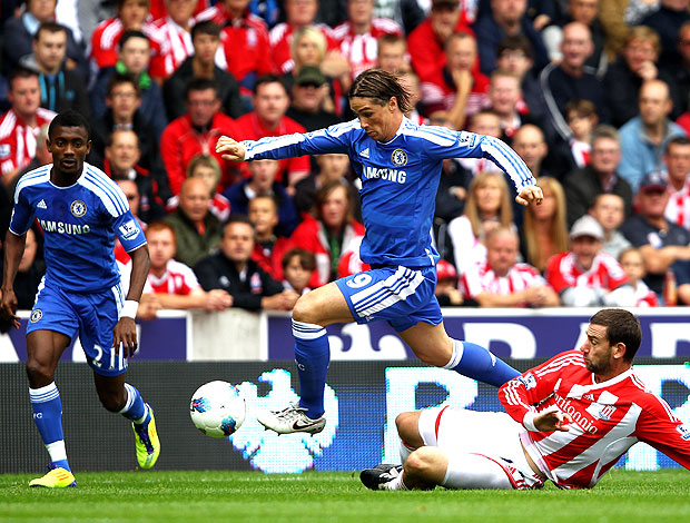 Fernando Torres no jogo do Chelsea contra o Stoke City (Foto: Getty Images)