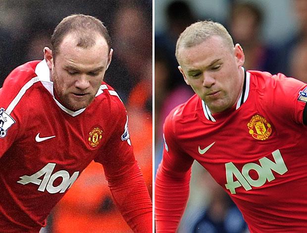 Rooney com novo visual na partida do Manchester United (Foto: Editoria de Arte / GLOBOESPORTE.COM)