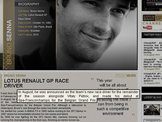 site Renault confirmação Bruno Senna (Foto: Reprodução / Site Oficial)