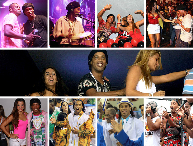 MONTAGEM - Ronaldinho ga&#250;cho noite (Foto: Editoria de arte / Globoesporte.com)