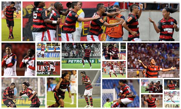 MONTAGEM - ROnaldinho gaúcho flamengo gols (Foto: Editoria de arte / Globoesporte.com)