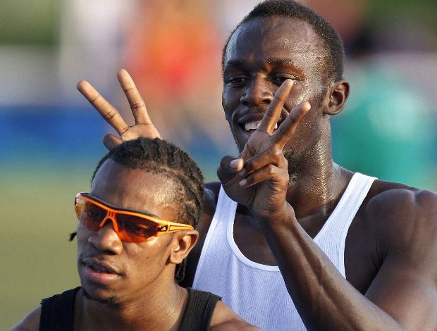 Usain Bolt treina com Yohan em Daegu (Foto: Reuters)