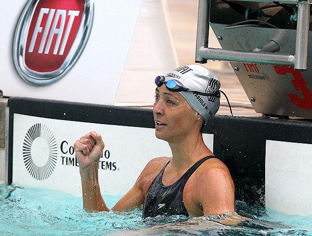 Fabiola Molina na prova de natação (Foto: Satiro Sodré / Divulgação Agif)