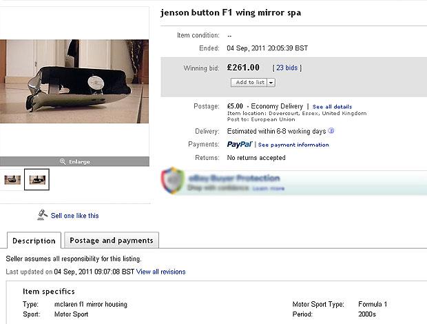 retrovisor de Button a venda na internet (Foto: Reprodução)