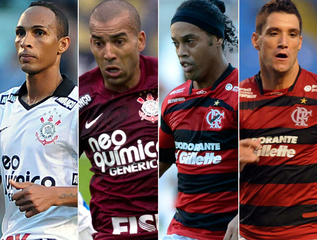Montagem Liedson,  Emerson, Ronaldinho e Thiago Neves. Corinthians x Flamengo (Foto: Editoria de Arte/Globoesporte.com)