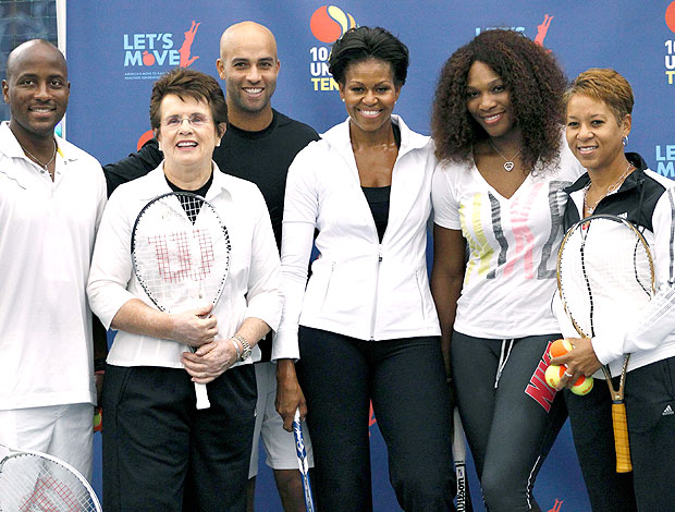 Michelle Obama com tenistas no US Open (Foto: Reuters)