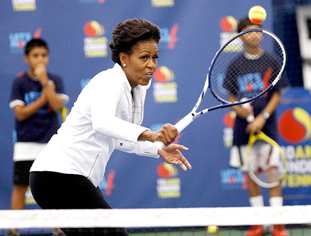 Michelle Obama no tênis no US Open (Foto: Reuters)
