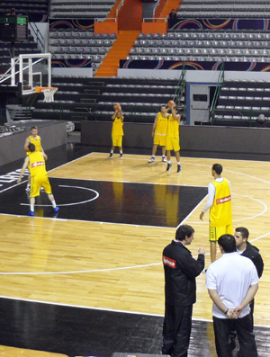 Treino do basquete no início da Copa América (Foto: Rodrigo Alves/GLOBOESPORTE.COM)