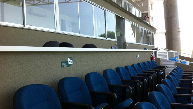 Novas cabines de imprensa do PV (Foto: Diego Morais/Globoesporte.com)