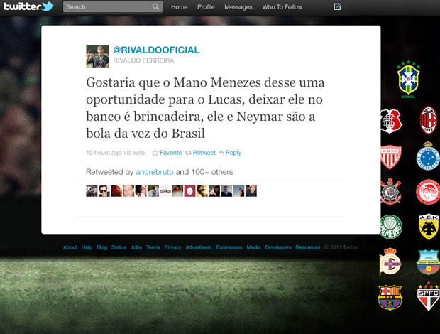 reprodução twitter rivaldo reclama mano menezes lucas são paulo (Foto: Divulgação Twitter)