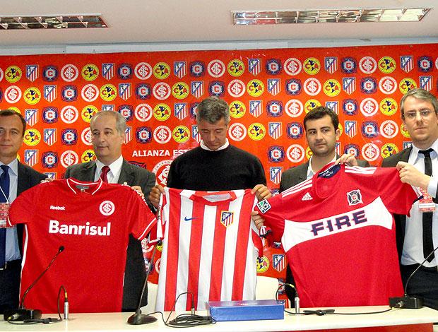 apresentação do projeto entre Internacional, Atlético de Madri, Chicago Fire e América do México (Foto: Alexandre Alliatti / Globoesporte.com)
