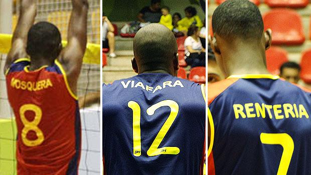 montagem nomes jogadores Colômbia vôlei (Foto: Editoria de Arte / GLOBOESPORTE.COM)