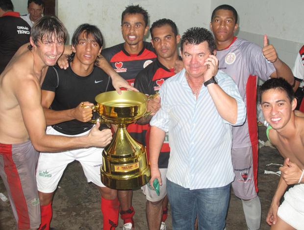 Série D - Jogadores do Trem comemoram título (Foto: Cahê Mota/Globoesporte.com)