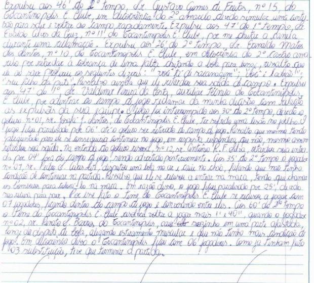 Relato do árbitro Rafael Odílio na súmula do jogo Anapolina 4 x 1 Tocantinópolis (Foto: Reprodução/TV Anhanguera)