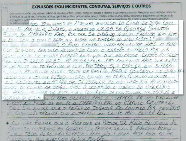 Súmula juiz que recebeu cabeçada palavrões borrados (Foto: Reprodução)