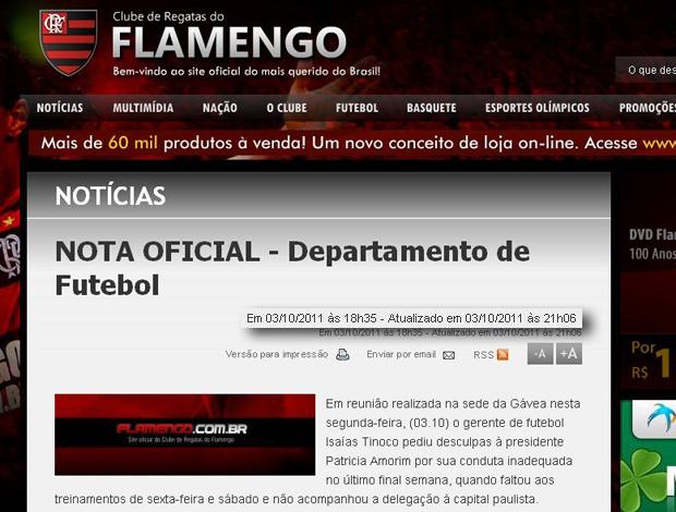 Site do Flamengo nota oficial atualização (Foto: Reprodução)