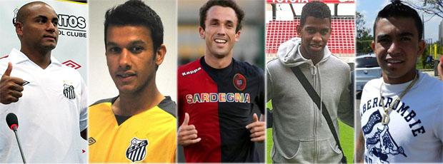 Jonathan, Henrique, Thiago Ribeiro, Gil e Dudu deixaram o Cruzeiro (Foto: Editoria de arte / TV Globo Minas)