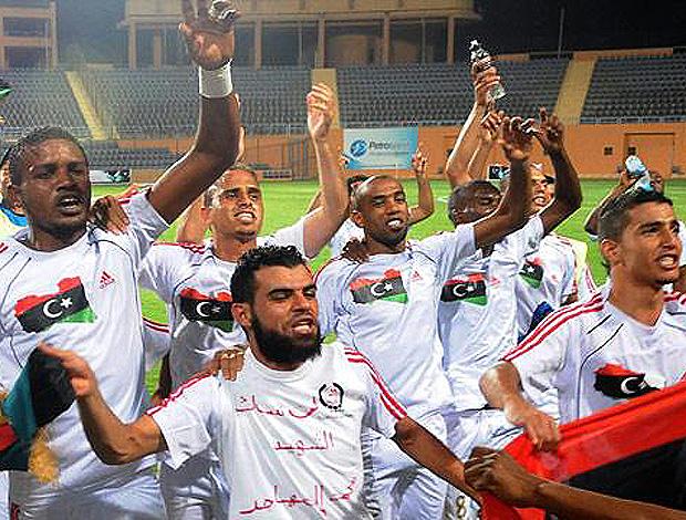 Seleção da Líbia comemora classificação para a Copa Africana de Nações (Foto: reprodução)
