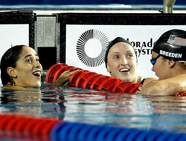 natação daynara de paula 100m borboleta claire donahue e elaine breeden (Foto: Agência AP)