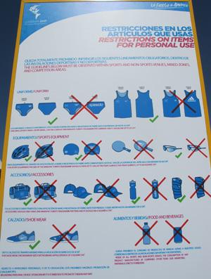 Aviso de restrições a patrocínios nos uniformes Pan Guadalajara (Foto: Gustavo Rotstein)