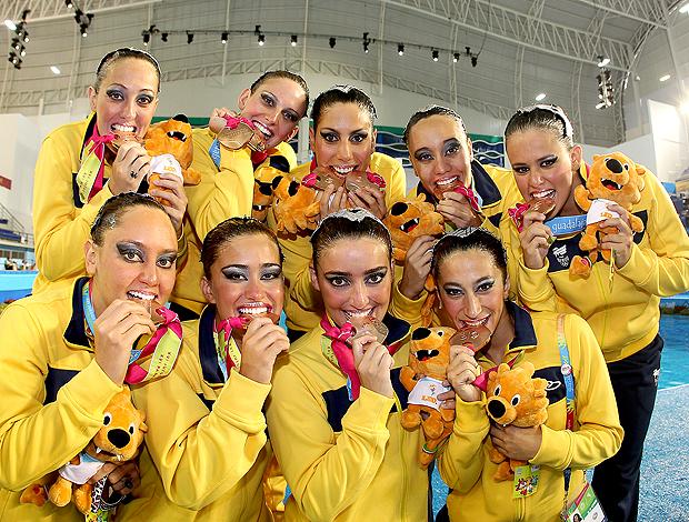Equipe do Brasil de nado sincronizado no pan (Foto: Satiro Sodré / Agif)