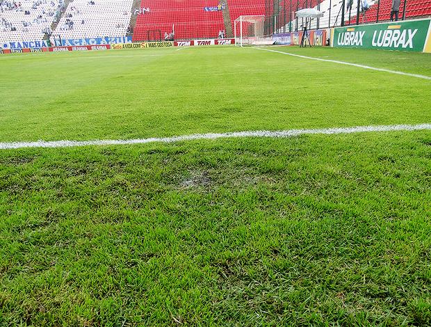 Gramado da Arena do Jacaré castigado pelas chuvas   (Foto: Fernando Martins/Globoesporte.com)