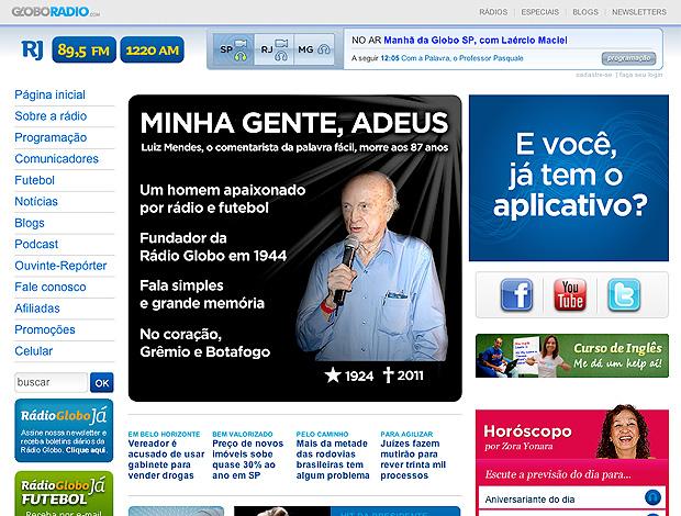 Reprodução site Radio Globo Luiz Mendes radialista  (Foto: Reprodução site Radio Globo)